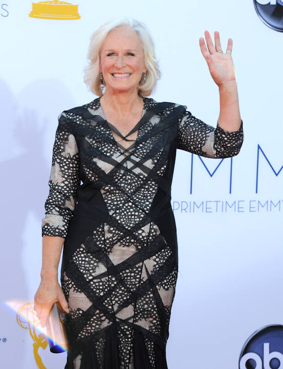 Actress Glenn Close arrives at the 64th Primetime Emmy Awards at the Nokia Theatre on Sunday, Sept. 23, 2012, in Los Angeles. (Photo by Jordan Strauss/Invision/AP)