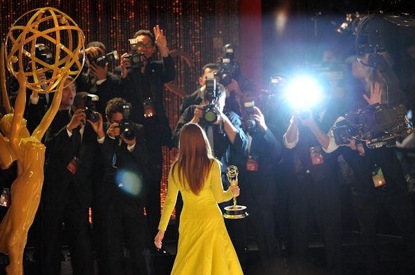 Actress Julianne Moore, winner Outstanding Lead Actress In A Miniseries or Movie for 'Game Change', onstage at the 64th Primetime Emmy Awards at the Nokia Theatre on Sunday, Sept. 23, 2012, in Los Angeles. (Photo by John Shearer/Invision/AP)