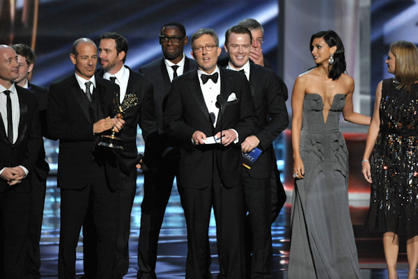 "<div class=""meta ""><span class=""caption-text "">Alex Gansa, center, and the cast and crew of ""Homeland"" accept the award for outstanding drama series at the 64th Primetime Emmy Awards at the Nokia Theatre on Sunday, Sept. 23, 2012, in Los Angeles. (Photo by John Shearer/Invision/AP)  </span></div>"