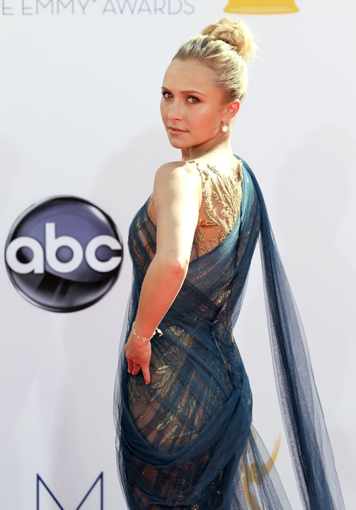 Hayden Panettiere arrives at the 64th Primetime Emmy Awards at the Nokia Theatre on Sunday, Sept. 23, 2012, in Los Angeles. (Photo by Matt Sayles/Invision/AP)
