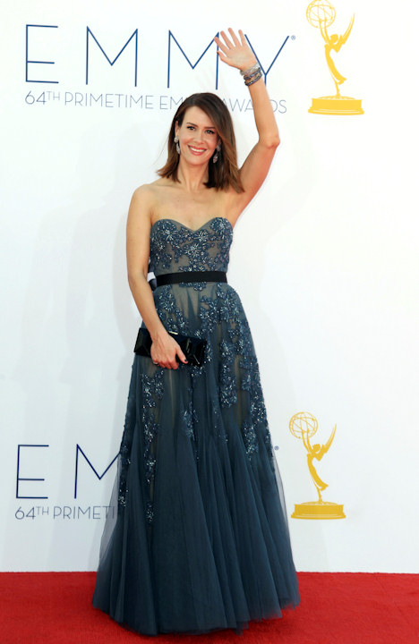 "<div class=""meta image-caption""><div class=""origin-logo origin-image ""><span></span></div><span class=""caption-text"">Sarah Paulson arrives at the 64th Primetime Emmy Awards at the Nokia Theatre on Sunday, Sept. 23, 2012, in Los Angeles. (Photo by Matt Sayles/Invision/AP) </span></div>"