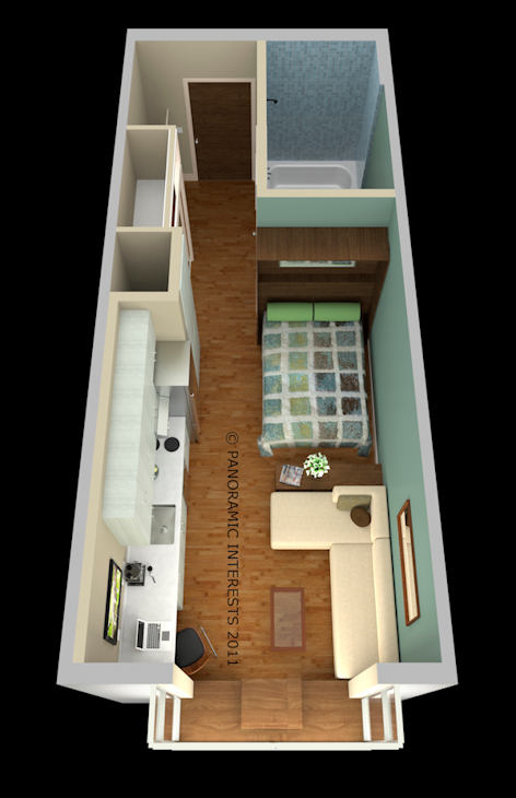 "In this artist's concept released by Panoramic Interests is a 300 square-foot apartment proposed for San Francisco. San Francisco may soon give new meaning to the word ""downsizing."" Supervisors are set to vote on a proposed change to the city's building code that would allow construction of among the tiniest apartments in the country. Under the plan, new apartments could be as small as 220 square feet including a kitchen, bathroom and closet. (AP Photo/Panoramic Interests)"