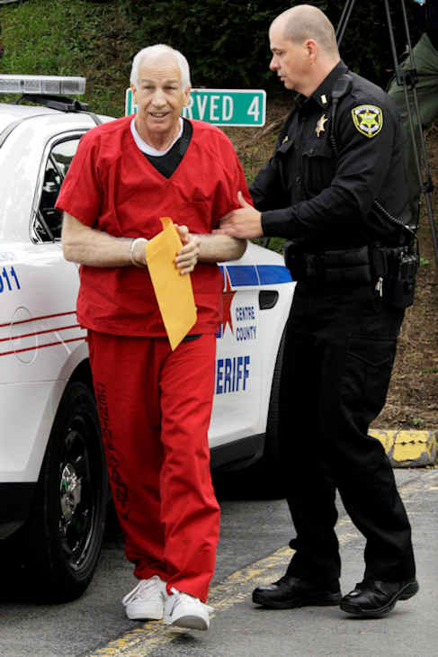 "<div class=""meta ""><span class=""caption-text "">Former Penn State University assistant football coach Jerry Sandusky, left, arrives for sentencing at the Centre County Courthouse in Bellefonte, Pa., Tuesday, Oct. 9, 2012. Tuesday, Oct. 9, 2012. Sandusky was convicted of sexually abusing 10 boys in a scandal that rocked the university and brought down Hall of Fame coach Joe Paterno. (AP Photo/Gene J. Puskar)</span></div>"