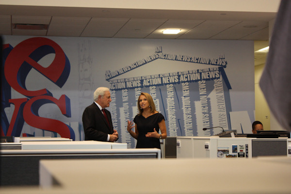 "Katie Couric visits 6abc studios and meets members of the Action News team on October 10, 2012. ""Katie"" airs weekdays at 3 p.m. on 6abc."