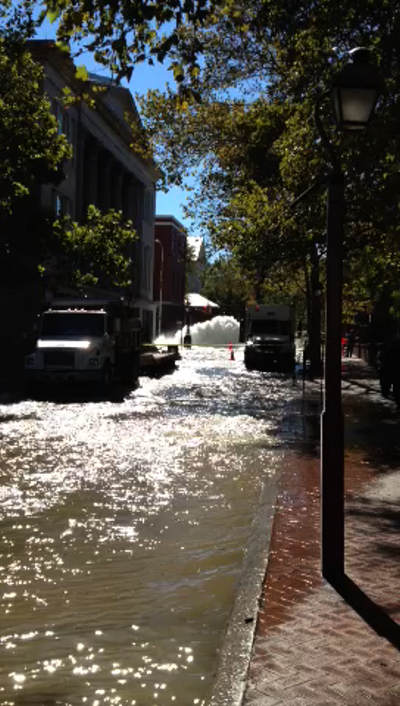 Action News viewer Tresjoy sent us this photo of a major water main break at 3rd and Walnut streets in Old City. <span class=meta>(Tresjoy)</span>