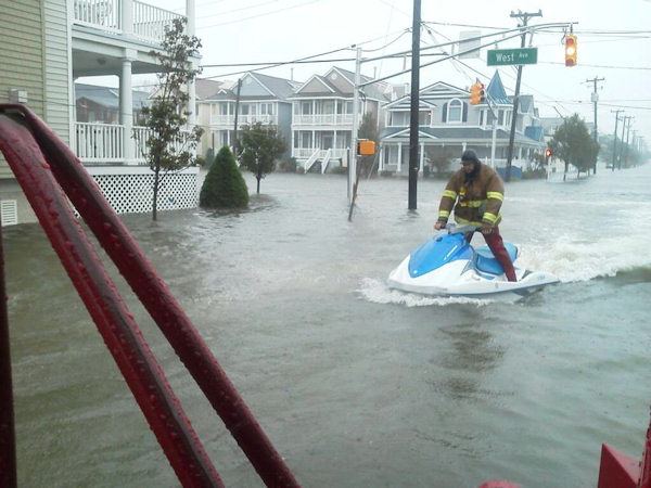 "<div class=""meta ""><span class=""caption-text "">Carriann Ryan Vliet posted this photo to the Action News Facebook page of the Ocean City Fire Department using jet skis during Hurricane Sandy. </span></div>"