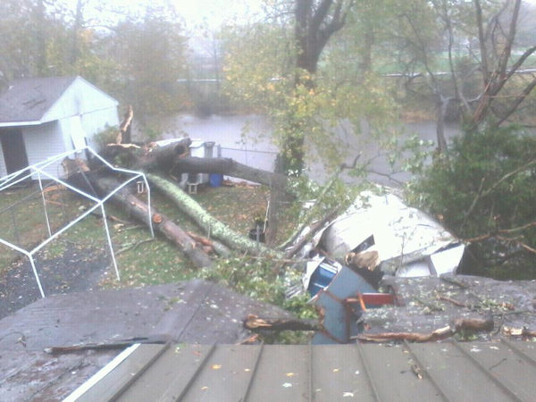"<div class=""meta ""><span class=""caption-text "">Scott Emerson sent in this photo to the Action News Facebook page of a tree crashing into a Mt. Holly, New Jersey backyard due to Hurricane Sandy. </span></div>"