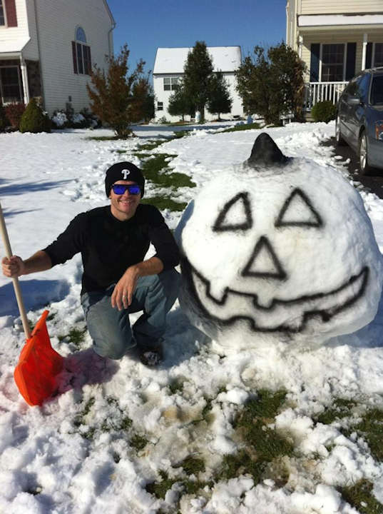 "<div class=""meta ""><span class=""caption-text "">My son Tom Sweeney and his wife Jess made this snow-pumpkin on their front lawn in Manheim. PA. Sent from Paul Sweeney. Send in your photos to sendit@6abc.com.</span></div>"