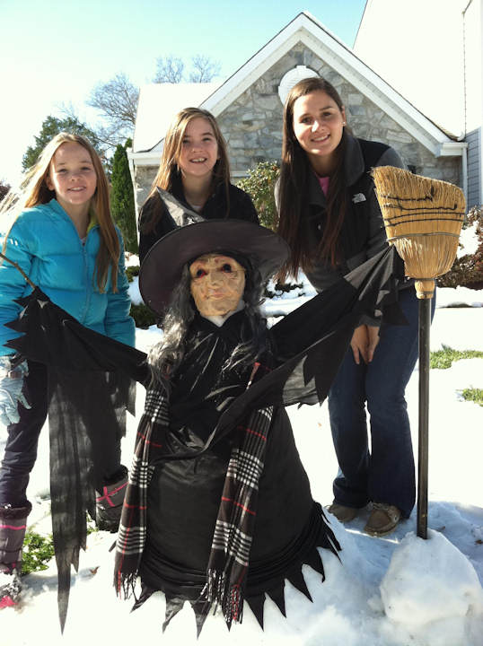 Cousins Krista Goepfrich (age 16), Libby Gibbons (age 11) and Jule Gibbons   (age 10) build a Snow Witch on the front lawn of the Goepfrich House in Lansdale, PA. Send in your photos to sendit@6abc.com.