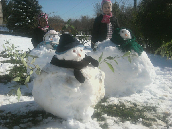 Amira, 6, and Leilah, 3,  first snowmen of the season. Send in your photos to sendit@6abc.com.