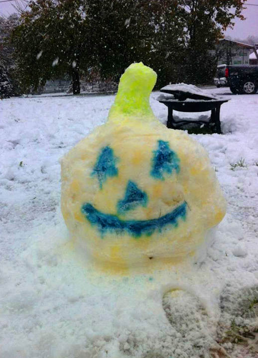Titled: Ricky, Ashley & Emma built a snow pumpkin Submitted by: The Adams Family from East Greenville, PA  Send in your photos to sendit@6abc.com.