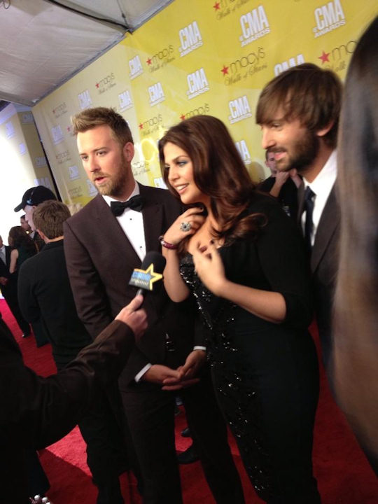Lady Antebellum on the red carpet of the Country Music Awards in Nashville on November 1, 2012.