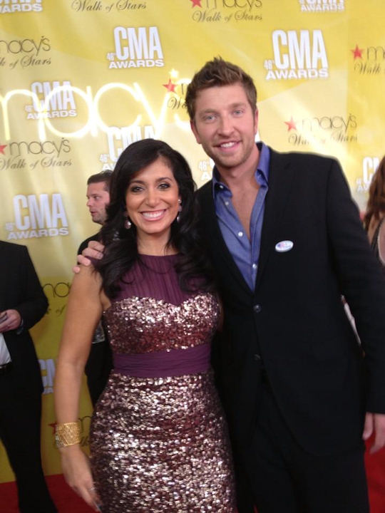 Alicia Vitarelli with Brett Eldredge on the red carpet of the Country Music Awards in Nashville on November 1, 2012.