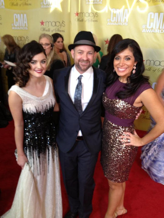 "<div class=""meta ""><span class=""caption-text "">Alicia Vitarelli with Lucy Hale from ABC Family's Pretty Little Liars and Kristian Bush from Sugarland on the red carpet of the Country Music Awards in Nashville on November 1, 2012.</span></div>"