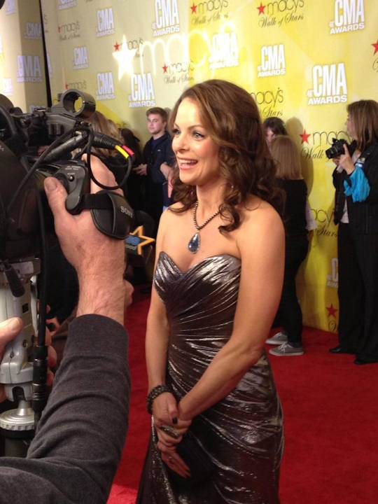Kimberly Williams-Paisley of ABC's Nashville on the red carpet of the Country Music Awards on November 1, 2012.