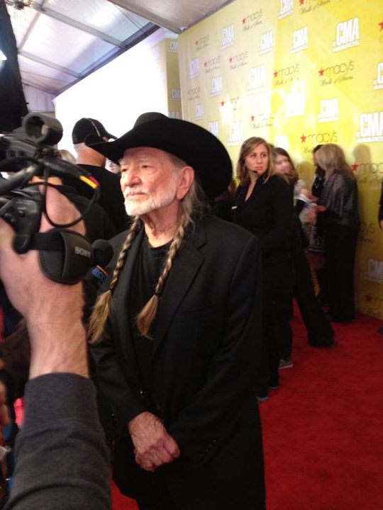 Willie Nelson on the red carpet of the Country Music Awards in Nashville on November 1, 2012.
