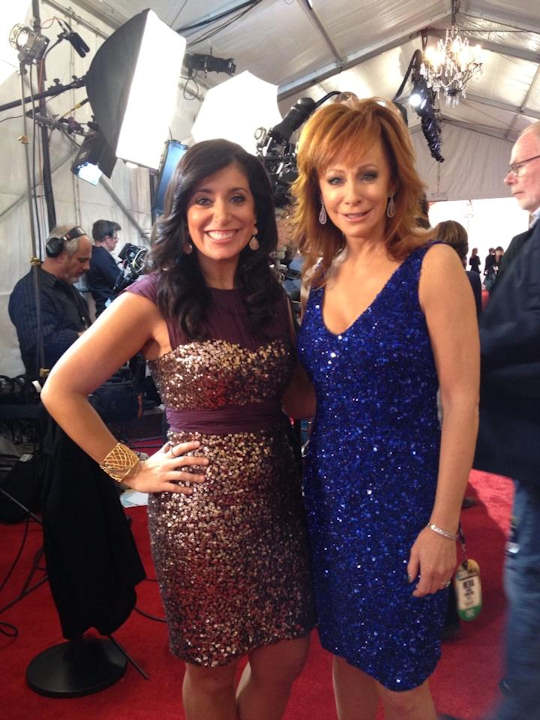 Alicia Vitarelli with Reba McEntire of ABC's Malibu Country on the red carpet of the Country Music Awards in Nashville on November 1, 2012.