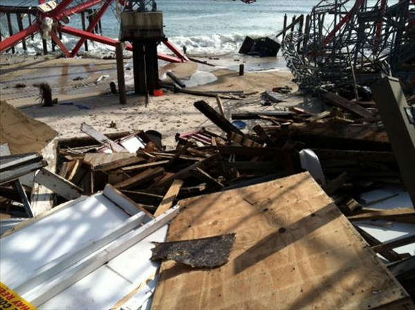 Chews Landing firefighter Ed Rainas sent us this photo of Hurricane Sandy&#39;s damage in Seaside Heights and Seaside Park. <span class=meta>( Ed Rainas)</span>