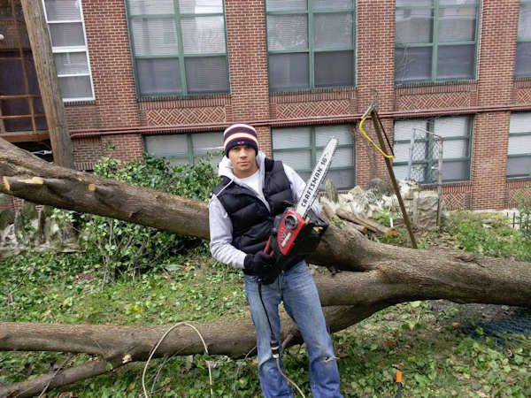 Adam Joseph cleans up after Sandy