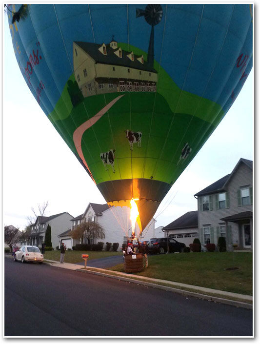 "<div class=""meta ""><span class=""caption-text "">A group of 6 people had to make a quick landing in their hot air balloon on a front lawn in Douglassville, Berks County on November 4, 2013.    An Action News viewer sent in these photos.</span></div>"