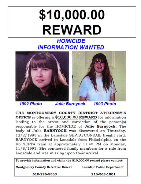 Official reward poster, Julie Barnyock murder case.