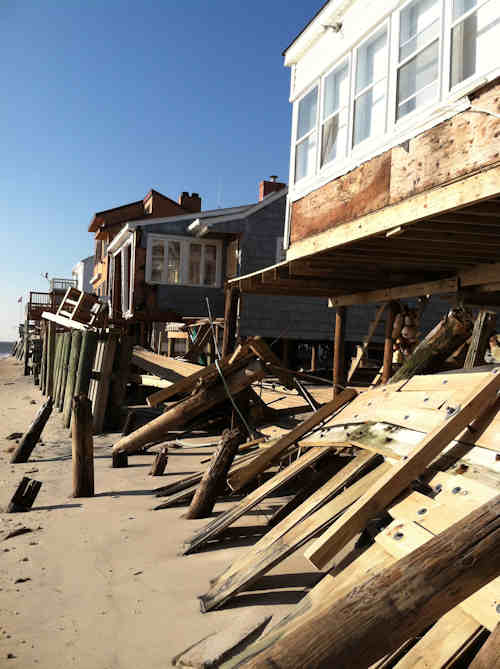 Meteorologist Chris Sowers took a look at some of the storm damage from Hurricane Sandy along the Delaware Bay. The damage to Gandy&#39;s Beach was severe and extensive. Several waterfront homes suffered unrecoverable losses, including entire homes being washed away.  <span class=meta>(Chris Sowers)</span>