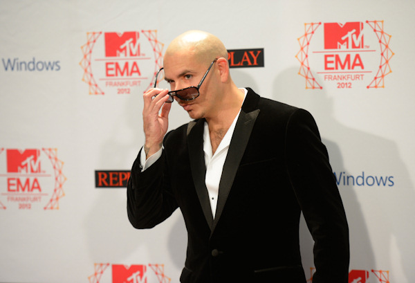 "<div class=""meta ""><span class=""caption-text "">Pitbull poses on 11.11.12 at the 19th MTV Europe Music Awards 2012 in Frankfurt.  Photo: Thomas Lohnes / DAPD</span></div>"
