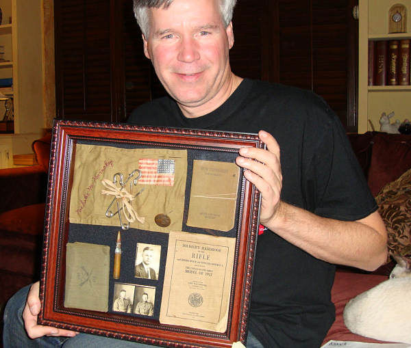 "<div class=""meta ""><span class=""caption-text "">David Murphy with the WWI relics of his grandfather's. (Photo/David Murphy)</span></div>"