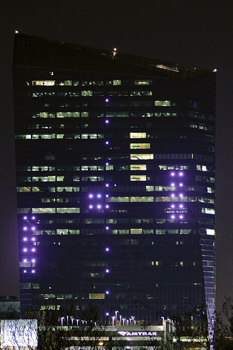 "<div class=""meta ""><span class=""caption-text "">The classic Atari video game Pong is played on the facade of the Cira Center in Philadelphia on Friday April 19, 2013. Hundreds of built-in LED lights embedded in the north face of the Cira Centre were used to replicate the familiar paddles and ball with gamers controlling giant, table-mounted joysticks across the Schuylkill River from the building. (AP Photo/Joseph Kaczmarek)  </span></div>"