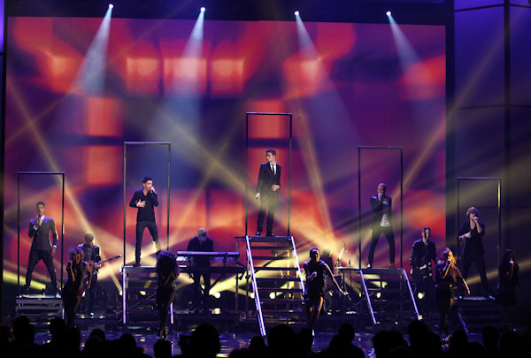 The Wanted perform at the 40th Annual American Music Awards on Sunday, Nov. 18, 2012, in Los Angeles. (Photo by Matt Sayles/Invision/AP)