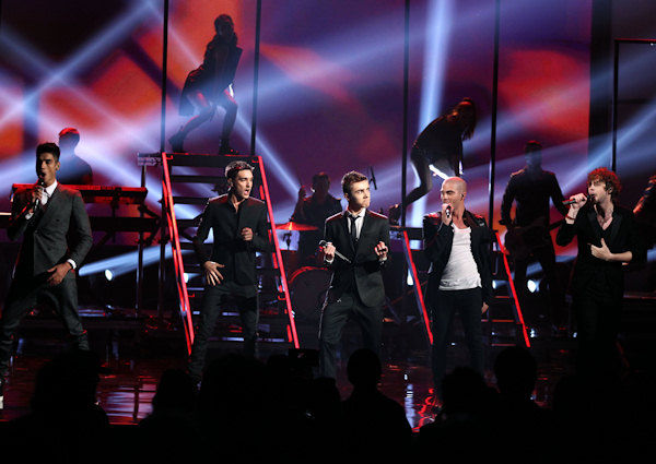The Wanted, from left, Siva Kaneswaran, Max George,Tom Parker, Nathan Sykes and Jay McGuiness perform at the 40th Annual American Music Awards on Sunday, Nov. 18, 2012, in Los Angeles. (Photo by Matt Sayles/Invision/AP)