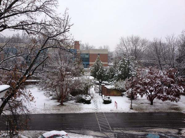 November 27, 2012: An Action News viewer sent this photo from Gwynedd-Mercy College - Assumption Hall looking out at the Lady Garden.
