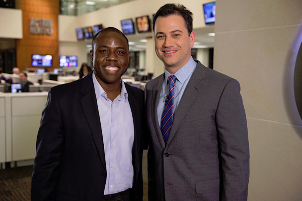 Late night talk show host Jimmy Kimmel stopped by 6abc studios to meet the Action News family and talk about his show&#39;s time change. Jimmy Kimmel Live! moves to 11:35 p.m. in January.  <span class=meta>(Daniel Burke Photography)</span>