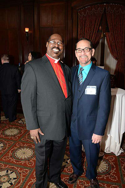 "Pictured: Bishop Ernest McNear and Philadelphia FIGHT's Chip Alfred at Philadelphia FIGHT's ""Fight for Life"" Gala honoring former Governor Ed Rendell on Wednesday, December 4th at the Union League of Philadelphia.  (Photo: HughE Dillon)"