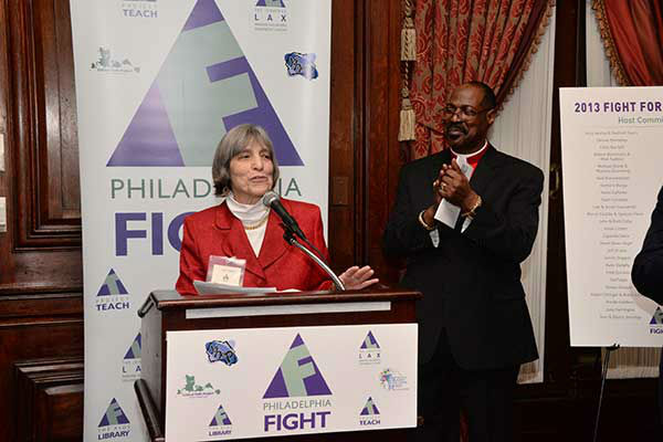 "Pictured: Philadelphia FIGHT Exec Dir Jane Shull and Bishop Ernest McNear Philadelphia FIGHT's ""Fight for Life"" Gala honoring former Governor Ed Rendell on Wednesday, December 4th at the Union League of Philadelphia.  (Photo: HughE Dillon)"