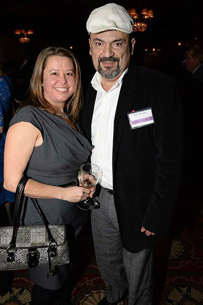 "Pictured: East Passyunk Avenue Business Improvement District Director Renee Gilinger and Sam Morales at Philadelphia FIGHT's ""Fight for Life"" Gala honoring former Governor Ed Rendell on Wednesday, December 4th at the Union League of Philadelphia. (Photo: HughE Dillon)"