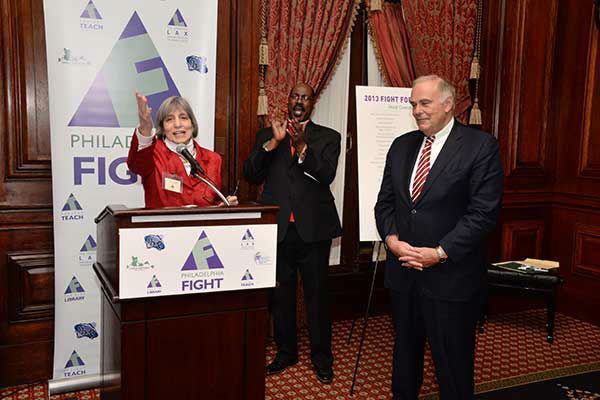 "Pictured: Philadelphia FIGHT Exec Dir Jane Shull and Bishop Ernest McNear at Philadelphia FIGHT's ""Fight for Life"" Gala honoring former Governor Ed Rendell on Wednesday, December 4th at the Union League of Philadelphia. (Photo: HughE Dillon)"