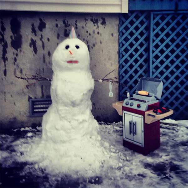 An Action News viewer snapped this snow man 'chilling and grilling' in Long Beach, NJ.