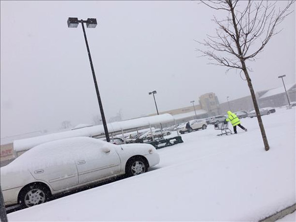 An Action News viewer was out in the snow at the Giant in Drexel Hill, Pa.