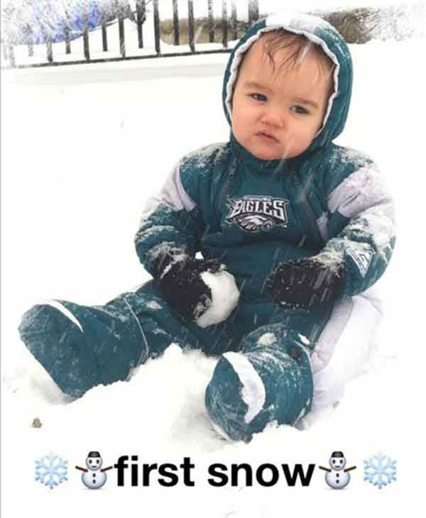 Christian (14 months), from Northeast Philadelphia, plays in his first snow! (submitted photo)