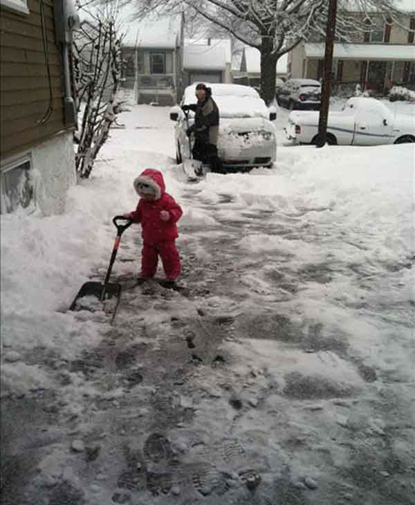 Aubrey helping daddy shovel driveway in Mt. Ephraim NJ (submitted photo)