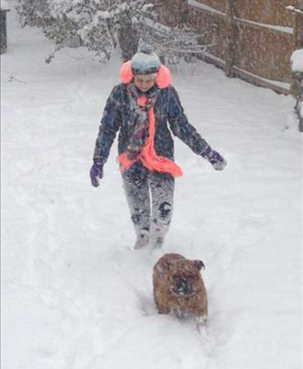 Emily and Toro were frolicking in the snow (submitted photo)
