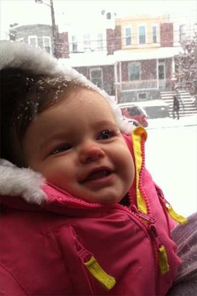 8 month old Natalie sees snow for the first time.