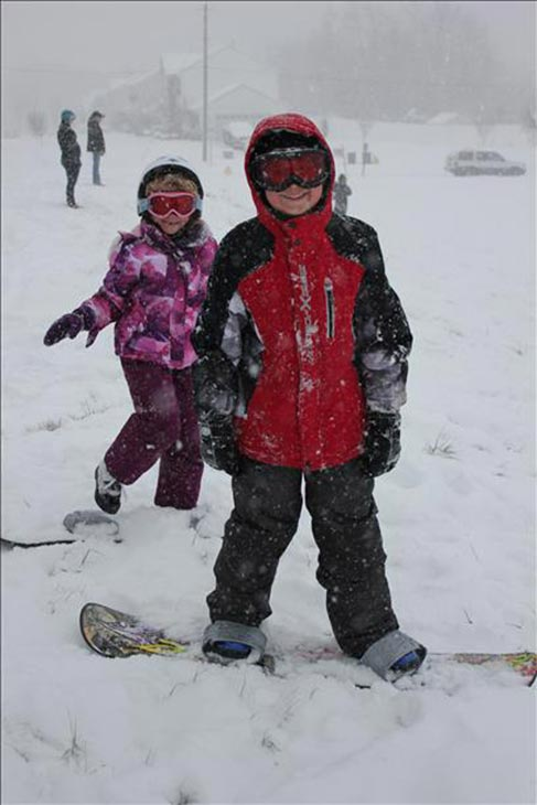 Jacob, from Washington Township, New Jersey, said his birthday wish came true... enough snow to go sledding and snowboarding with his sister, Morgan.