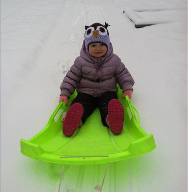 Charlotte in Hatboro, PA enjoying her first sled ride!