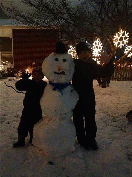 Ava and Joey built this snowman in Plymouth Meeting, Pa.