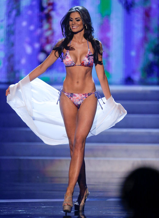 Miss Brazil, Gabriela Markus, walks the stage during the swimsuit portion of the Miss Universe competition, Wednesday, Dec. 19, 2012, in Las Vegas. (AP Photo/Julie Jacobson)