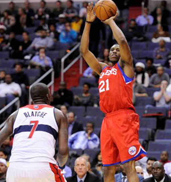 "<div class=""meta ""><span class=""caption-text "">Philadelphia 76ers forward Thaddeus Young (21) takes a shot against Washington Wizards power forward Andray Blatche (7) during the first half of an NBA preseason basketball game, Friday, Dec. 16, 2011, in Washington.  ((AP Photo/Nick Wass))</span></div>"