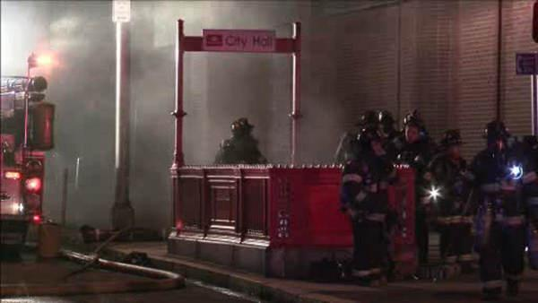 Fire erupts on PATCO train