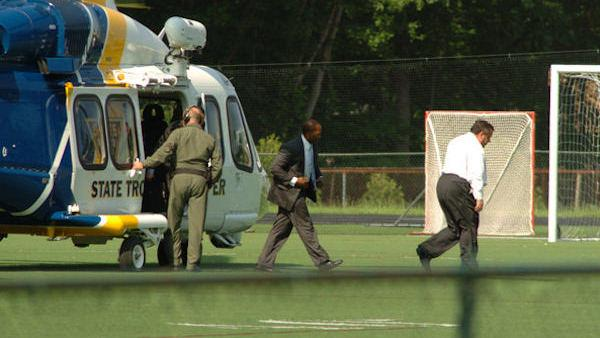 NJ governor takes helicopter to son's ball game